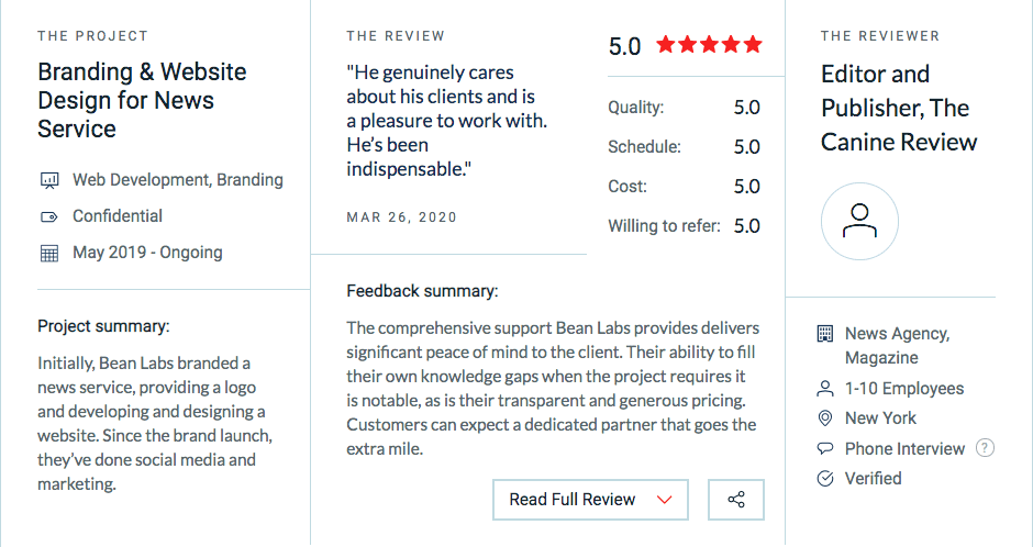 5 Star Review of Bean Labs Branding and Web design